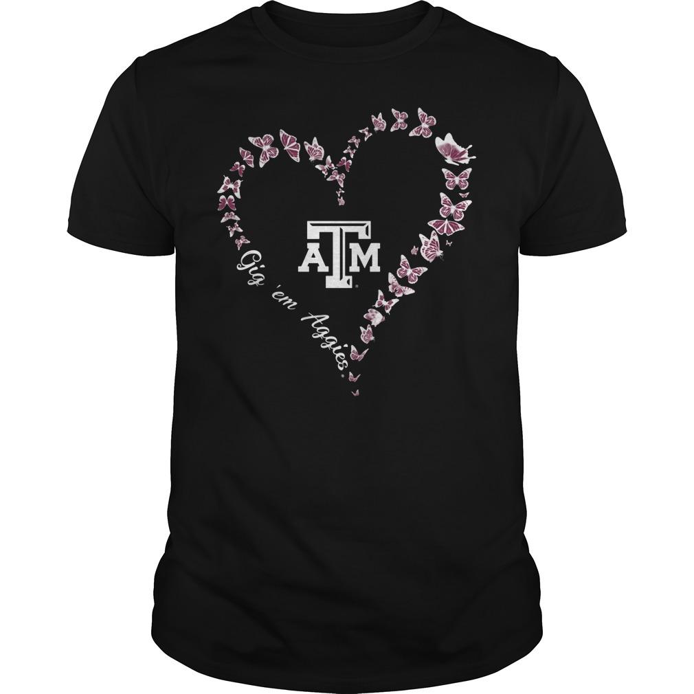 Texas Am Aggies Butterflies Heart Shirt