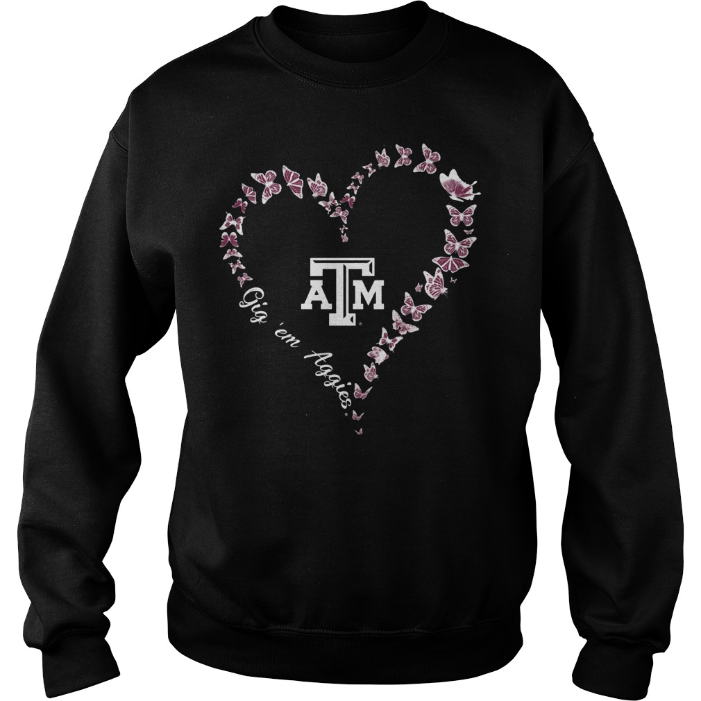 Texas Am Aggies Butterflies Heart Sweater
