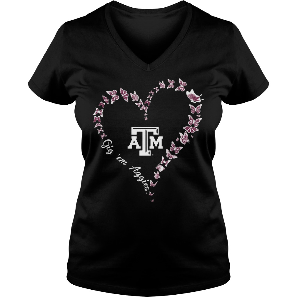 Texas Am Aggies Butterflies Heart V Neck