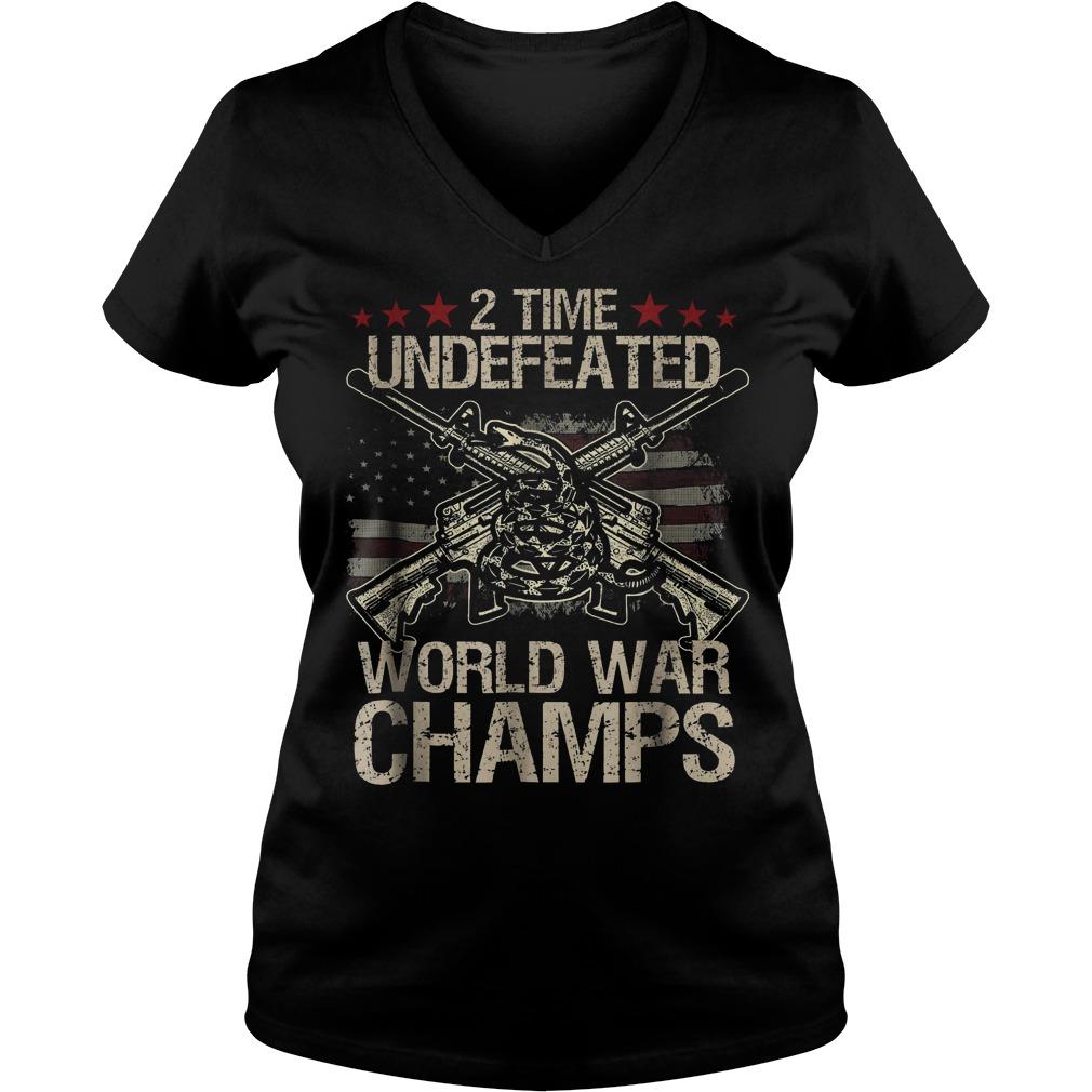 2 Time World War Champs V Neck