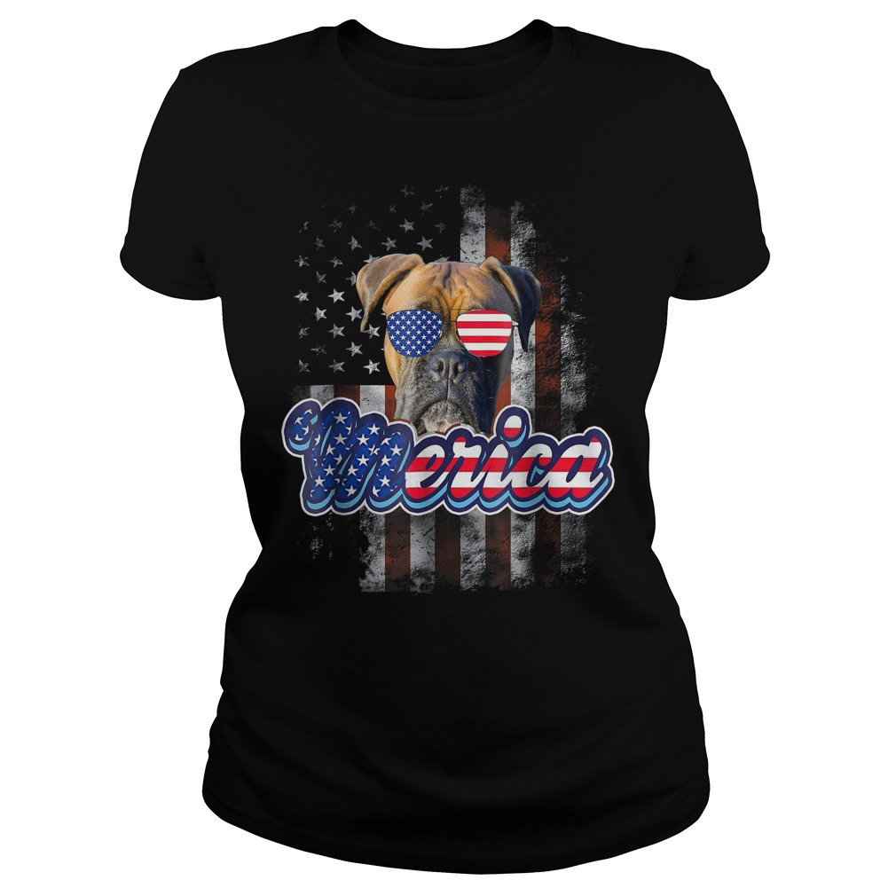 American Flag America 4th Of July Dog Patriotic Boxer Ladies