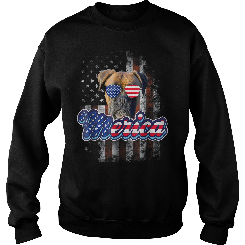 American Flag America 4th Of July Dog Patriotic Boxer Sweater