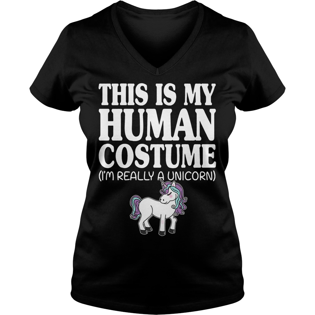 This Is My Human Costume Unicorn V Neck