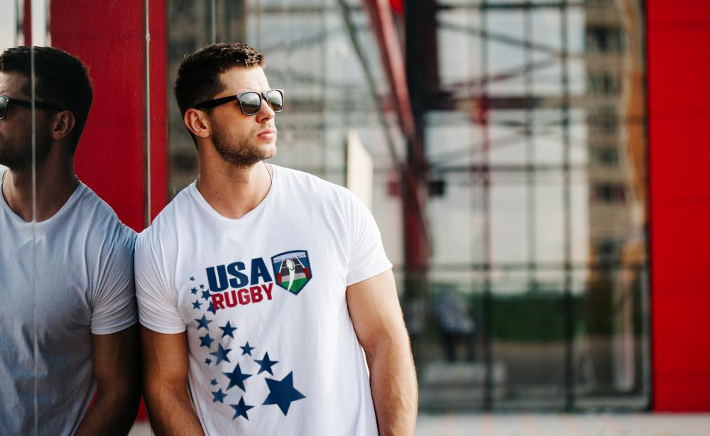 American Rugby With Stars T Shirt