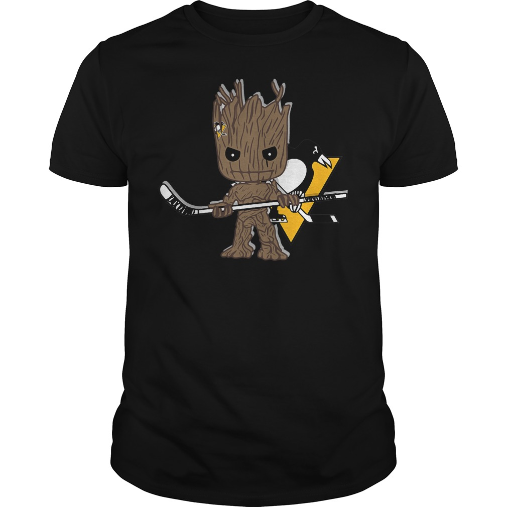 Baby Groot I Am Ice Hockey Player Team Pittsburgh Penguins T-Shirt Guys Tee