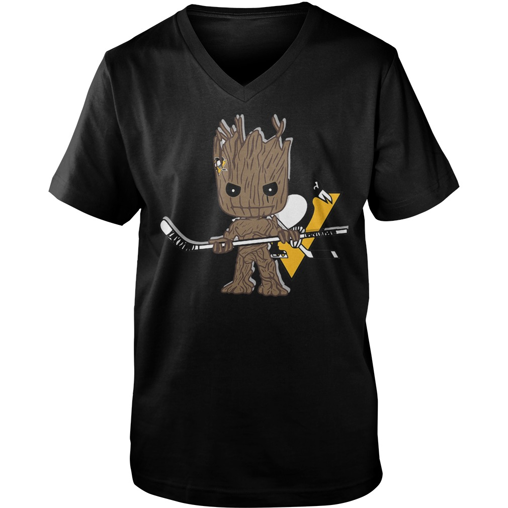 Baby Groot I Am Ice Hockey Player Team Pittsburgh Penguins T-Shirt Guys V-Neck