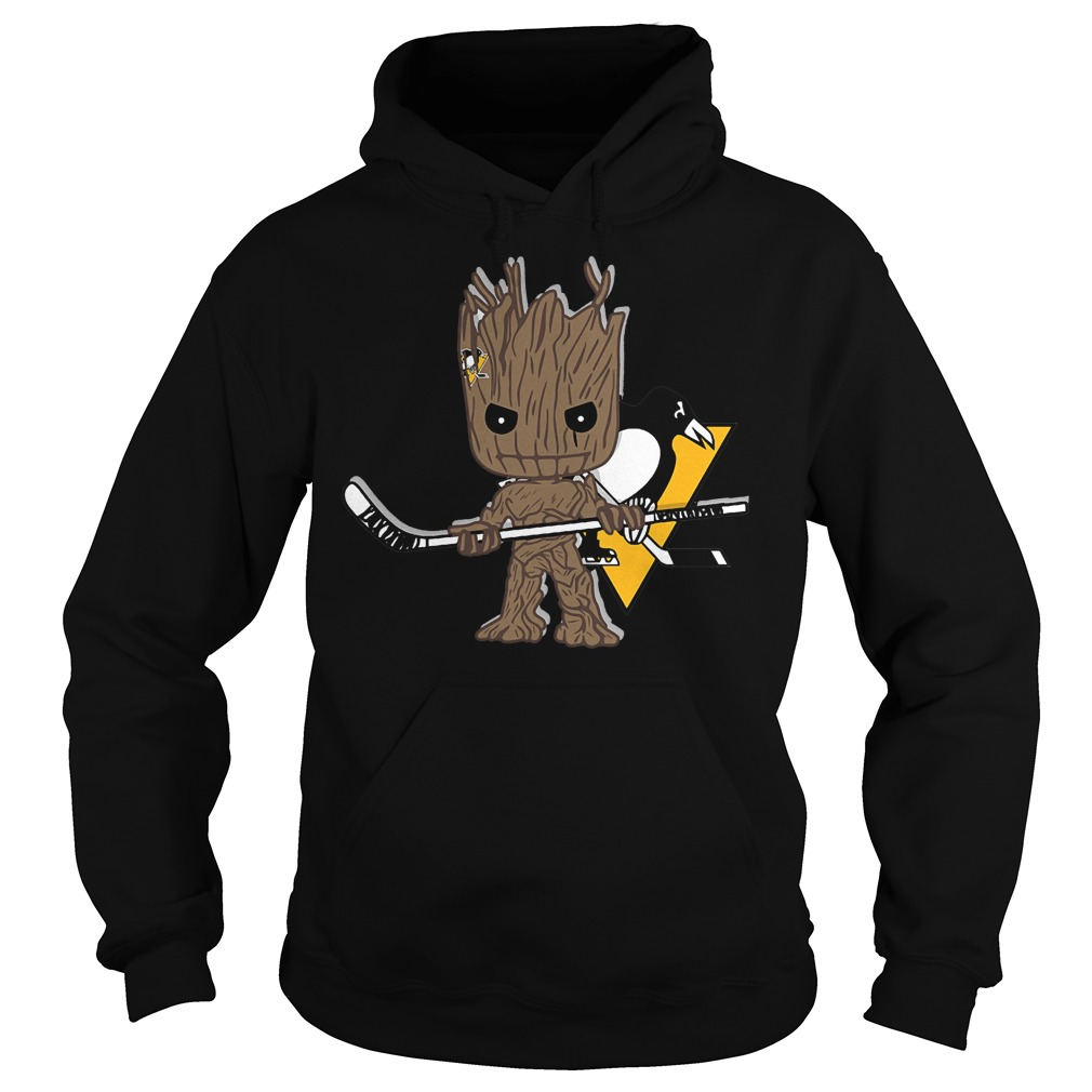 Baby Groot I Am Ice Hockey Player Team Pittsburgh Penguins T-Shirt Hoodie