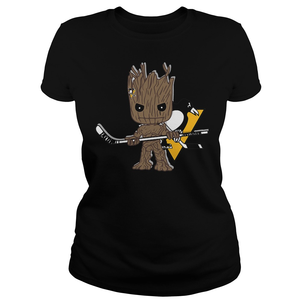 Baby Groot I Am Ice Hockey Player Team Pittsburgh Penguins T-Shirt Ladies Tee