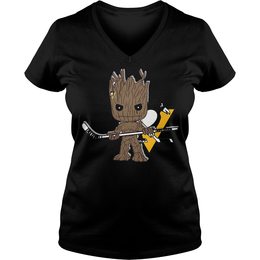 Baby Groot I Am Ice Hockey Player Team Pittsburgh Penguins T-Shirt Ladies V-Neck