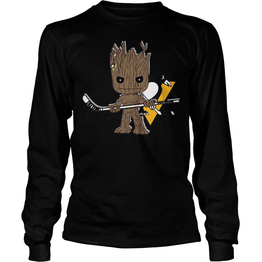 Baby Groot I Am Ice Hockey Player Team Pittsburgh Penguins T-Shirt Unisex Longsleeve Tee