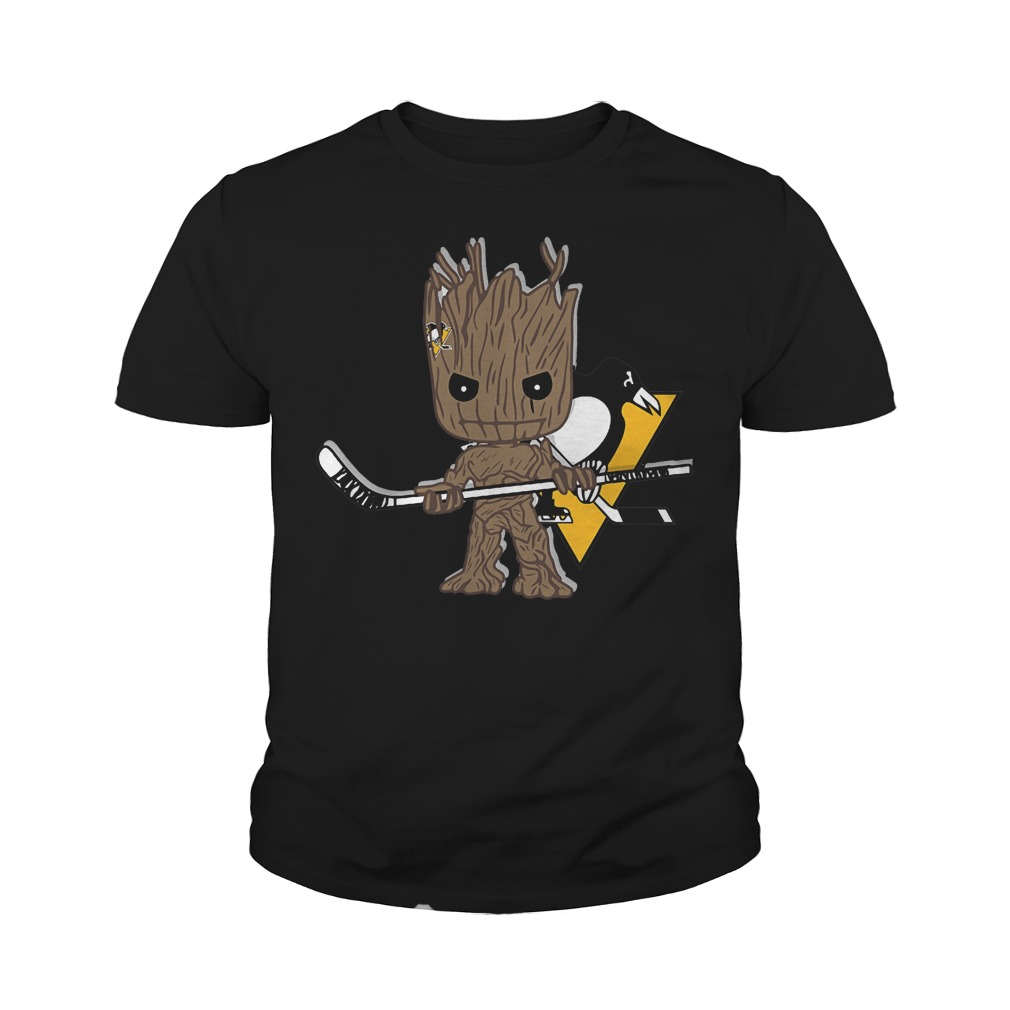 Baby Groot I Am Ice Hockey Player Team Pittsburgh Penguins T-Shirt Youth Tee