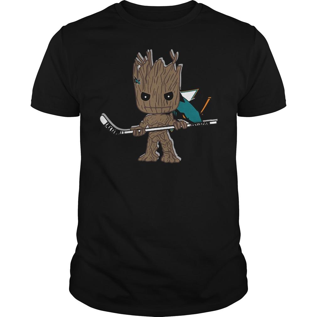 Baby Groot I Am Ice Hockey Player Team San Jose Sharks T-Shirt Guys Tee