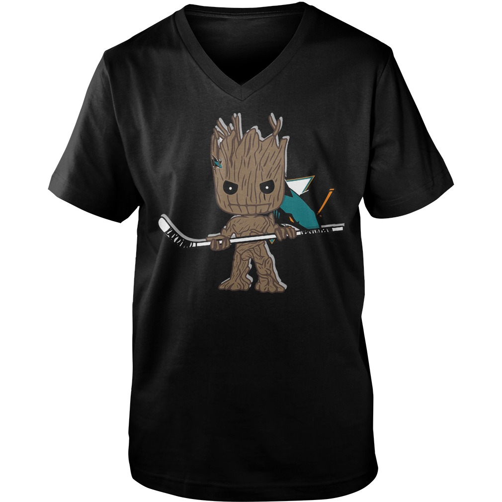 Baby Groot I Am Ice Hockey Player Team San Jose Sharks T-Shirt Guys V-Neck