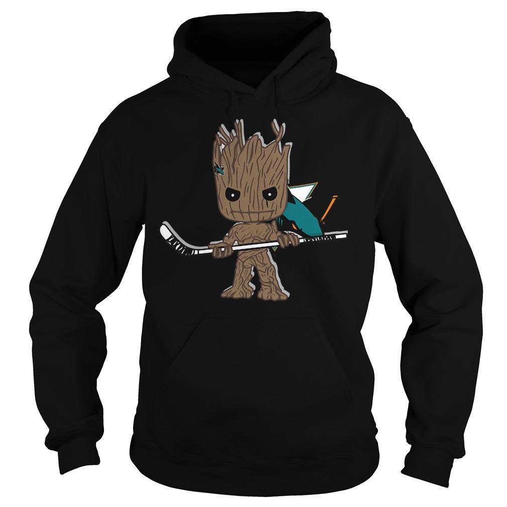 Baby Groot I Am Ice Hockey Player Team San Jose Sharks T-Shirt Hoodie