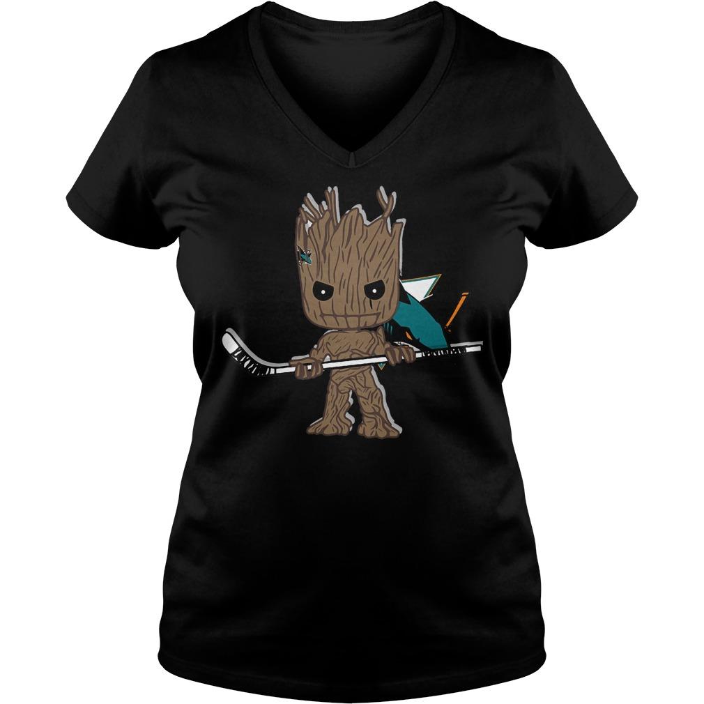 Baby Groot I Am Ice Hockey Player Team San Jose Sharks T-Shirt Ladies V-Neck