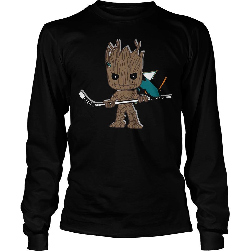 Baby Groot I Am Ice Hockey Player Team San Jose Sharks T-Shirt Unisex Longsleeve Tee