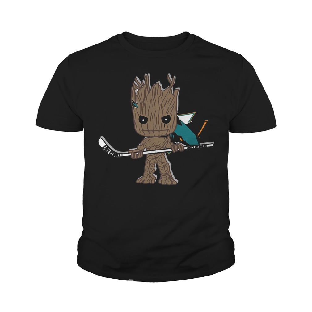 Baby Groot I Am Ice Hockey Player Team San Jose Sharks T-Shirt Youth Tee