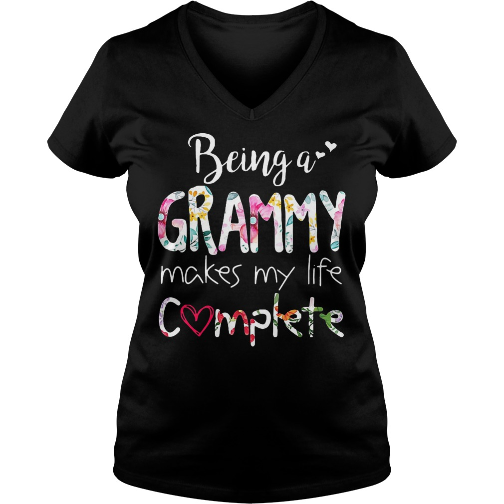 Being A Grammy Makes My Life Completely T-Shirt Ladies V-Neck