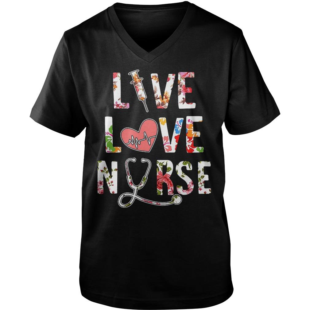 Premium Flower Live Love Nurse T-Shirt Guys V-Neck