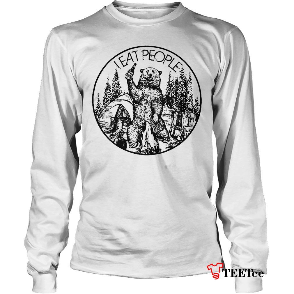 Nice Shirt Camfire camping bear i hate people i eat people shirt Longsleeve Tee Unisex