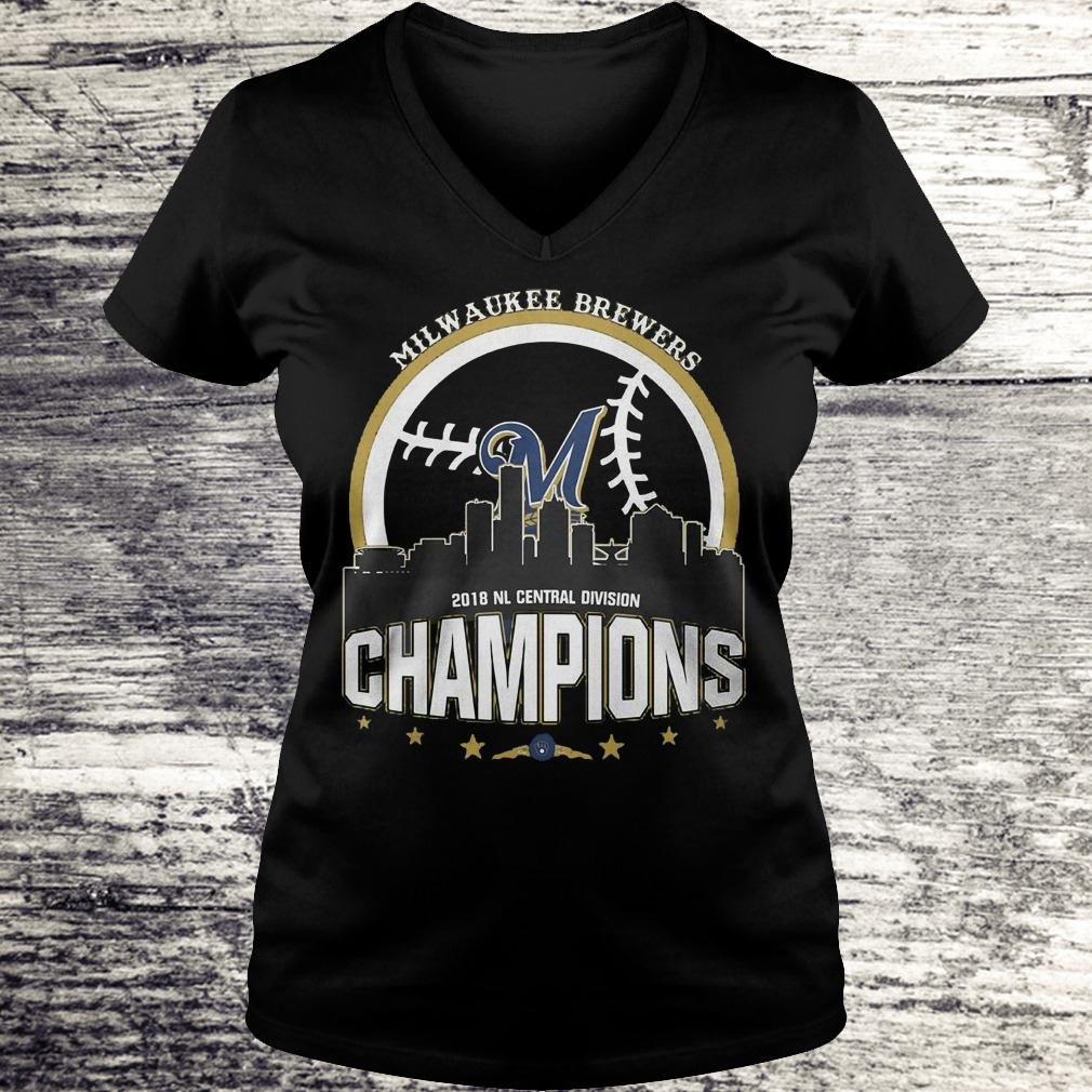 Best Price Milwaukee Brewers 2018 NL central division champions Shirt Ladies V-Neck