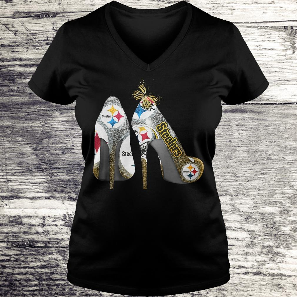 Butterfly Heel Rhinestones Pittsburgh Steelers Nfl Shirt Ladies V-Neck