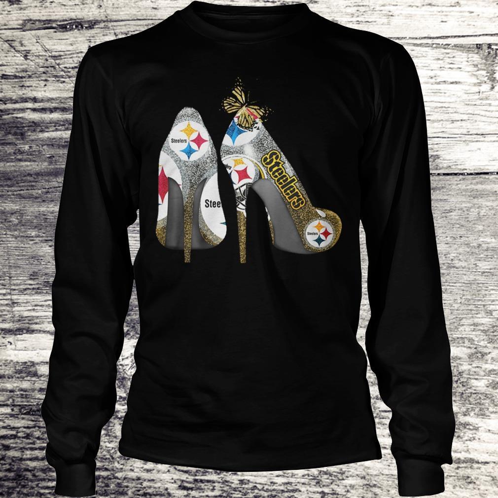 Butterfly Heel Rhinestones Pittsburgh Steelers Nfl Shirt Longsleeve Tee Unisex