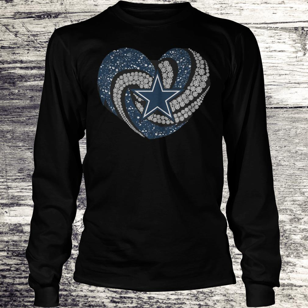 Dallas Cowboys glitter diamond heart Shirt Longsleeve Tee Unisex