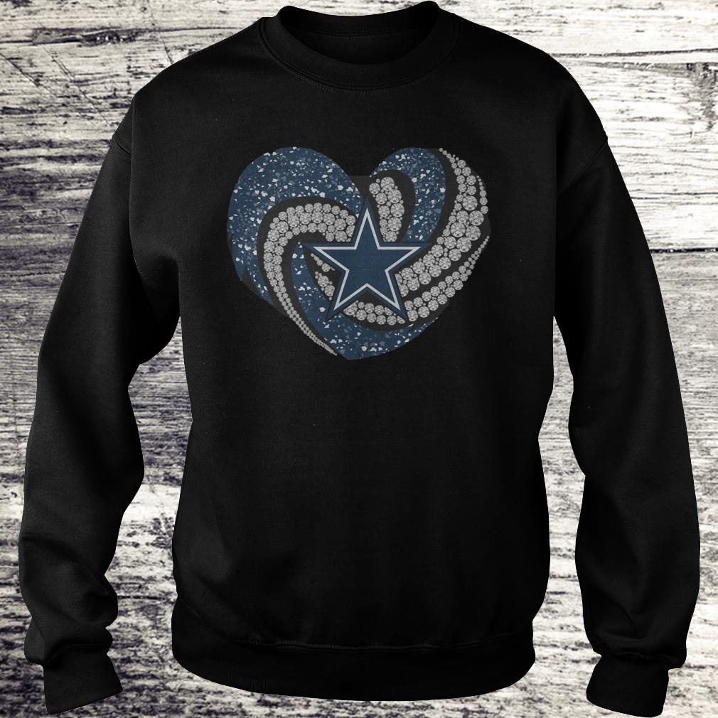 Dallas Cowboys glitter diamond heart Shirt Sweatshirt Unisex