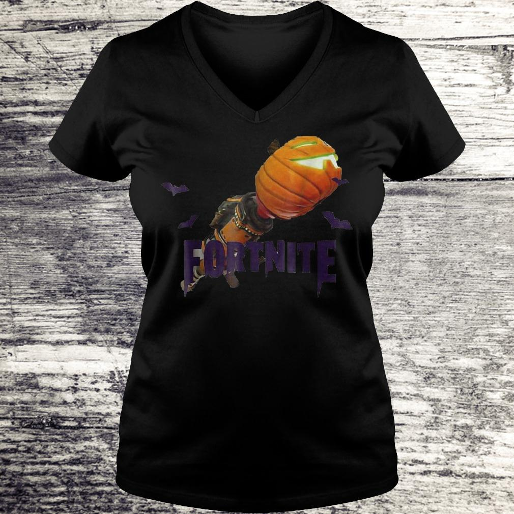 Fortnite Bazooka pumpkin halloween shirt Ladies V-Neck