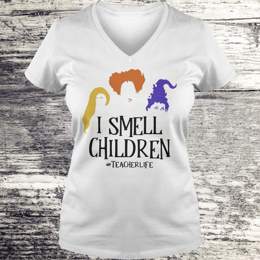 Halloween Hocus Pocus I smell children teacher life Shirt Ladies V-Neck