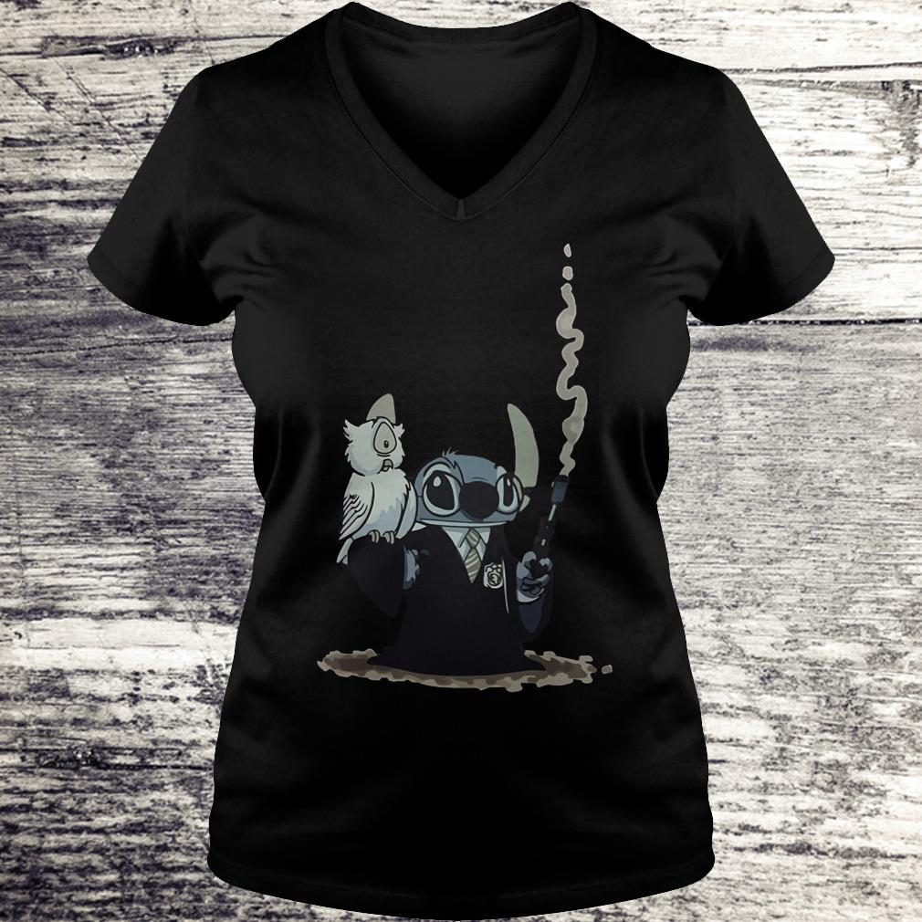 Harry Potter Hedwig And Stitch Mashup Shirt Ladies V-Neck