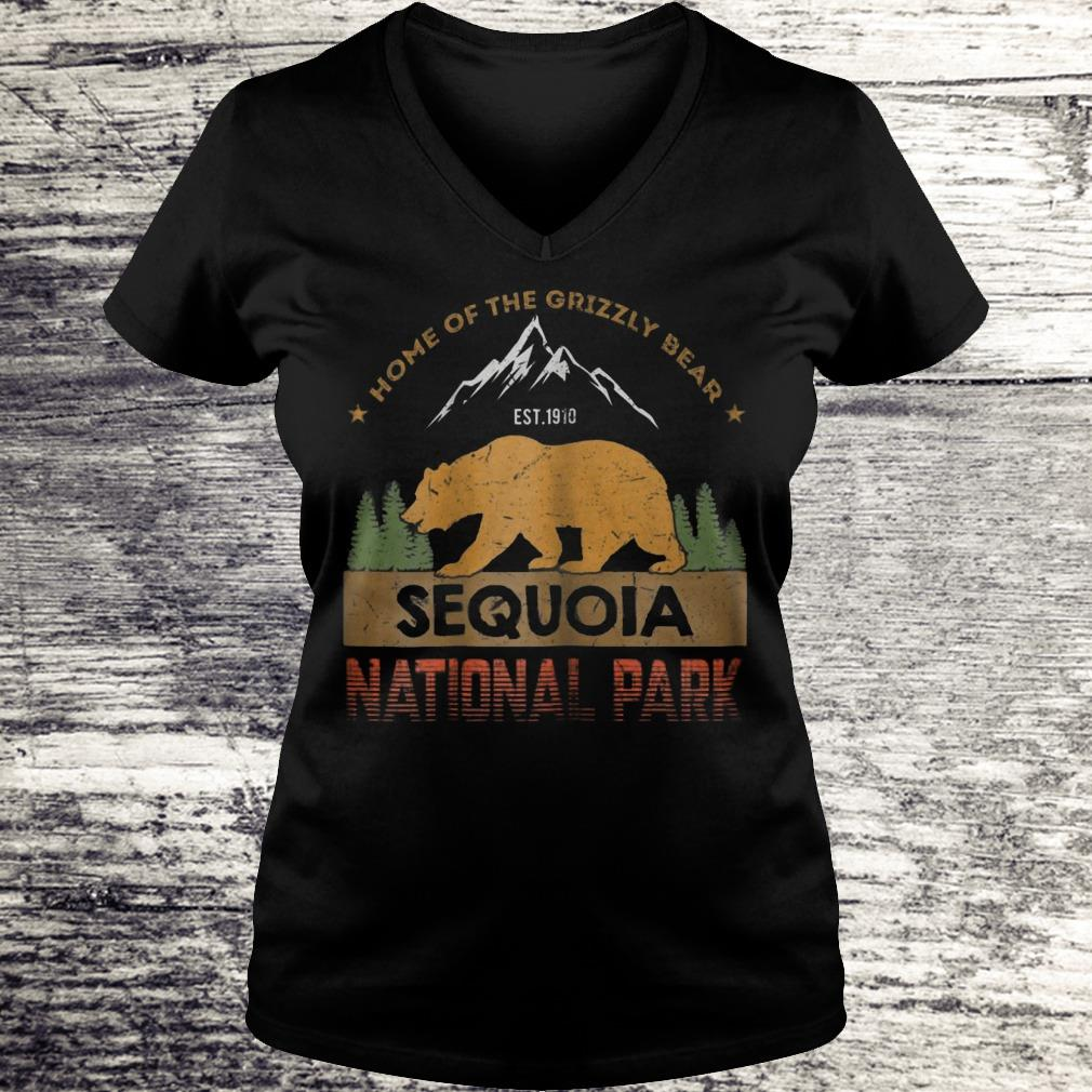 Home Of The Grizzly Bear Sequoia National Park Sweatshirt Ladies V-Neck