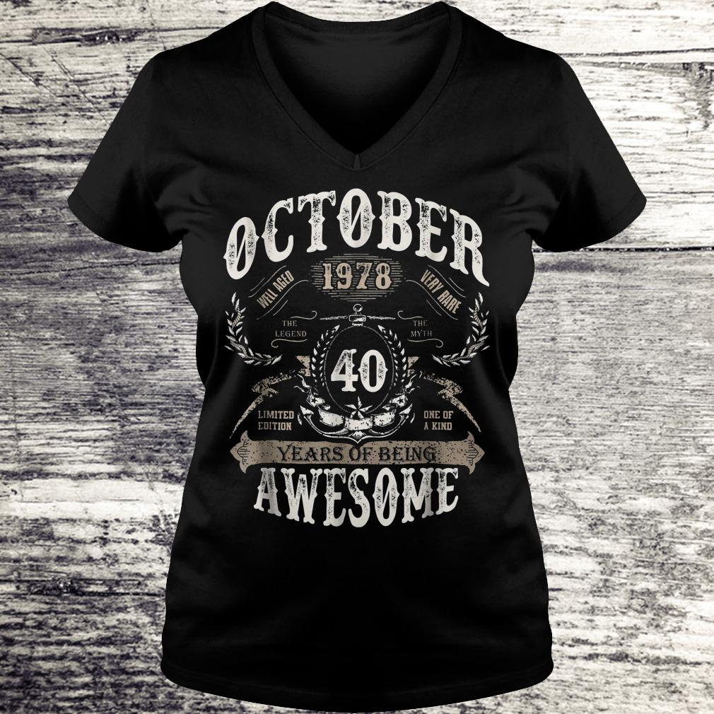 Hot October 1978 40 years of being awesome Shirt Ladies V-Neck