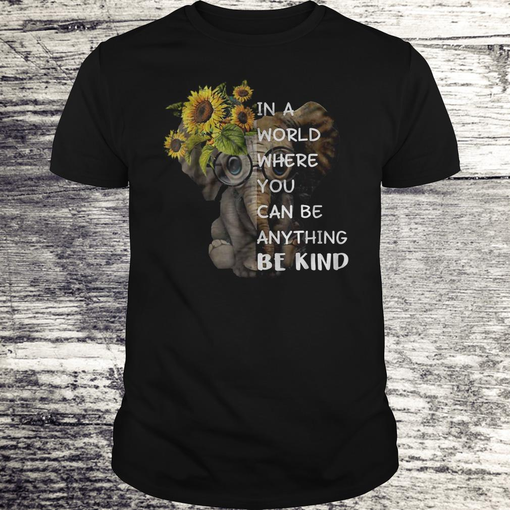 In A World Where You Can Be Anything Be Kind Sunflower Elephant Black Shirt Classic Guys Unisex Tee.jpg