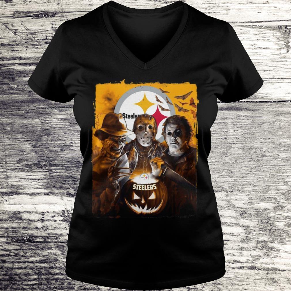 Jason Michael Freddy Pittsburgh Steeler Shirt Ladies V-Neck