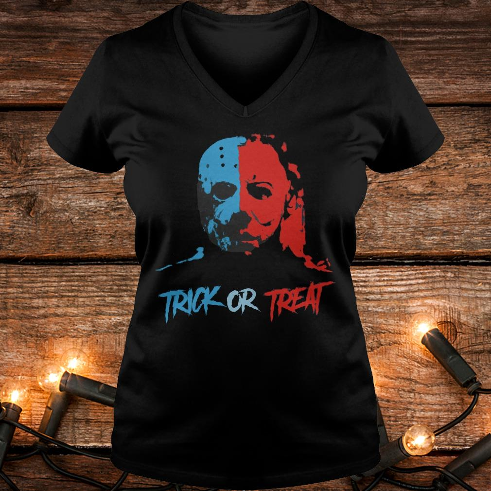 Jason Voorhees and Michael Myers Trick or Treat Shirt Ladies V-Neck