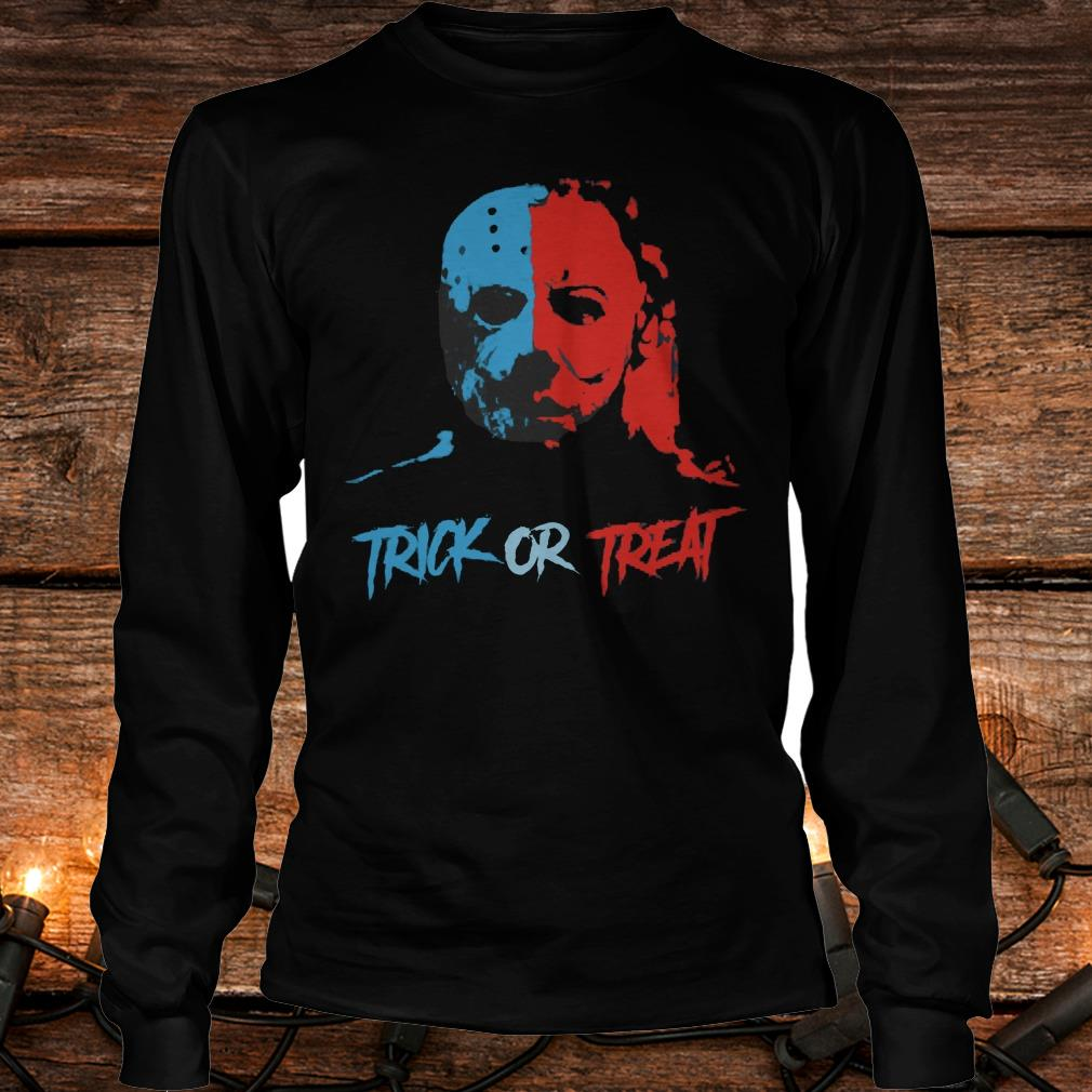 Jason Voorhees and Michael Myers Trick or Treat Shirt Longsleeve Tee Unisex