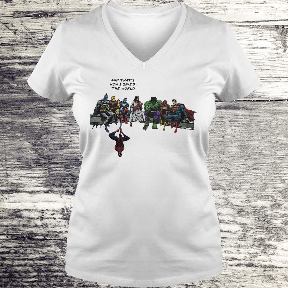 Jesus And Superheroes Shirt Ladies V-Neck