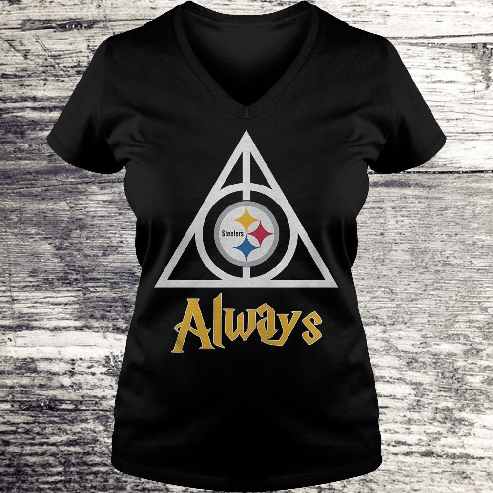 NFL Pittsburgh Steelers Deathly Hallows Always Harry Potter Shirt Ladies V-Neck