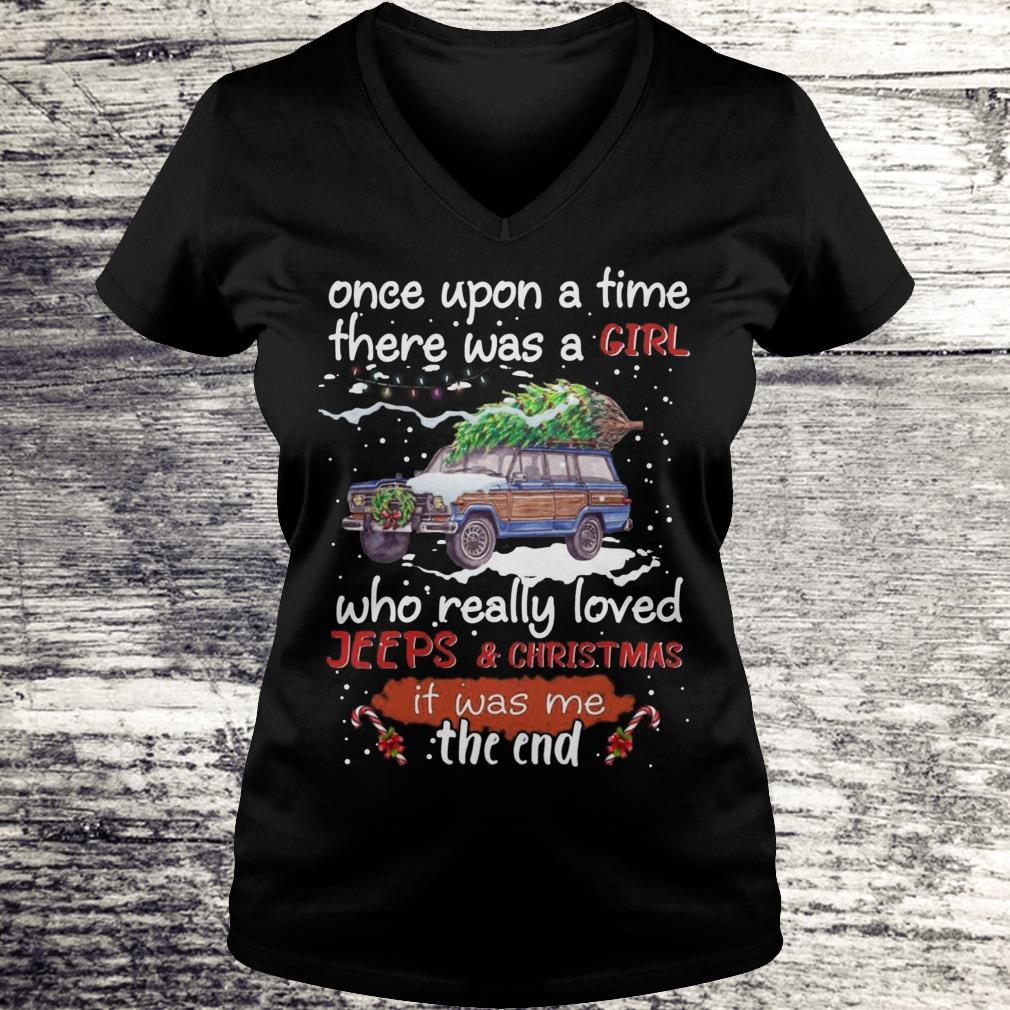 Once Upon A Time There Was A Girl Who Really Loved Jeeps Christmas Sweatshirt Ladies V-Neck