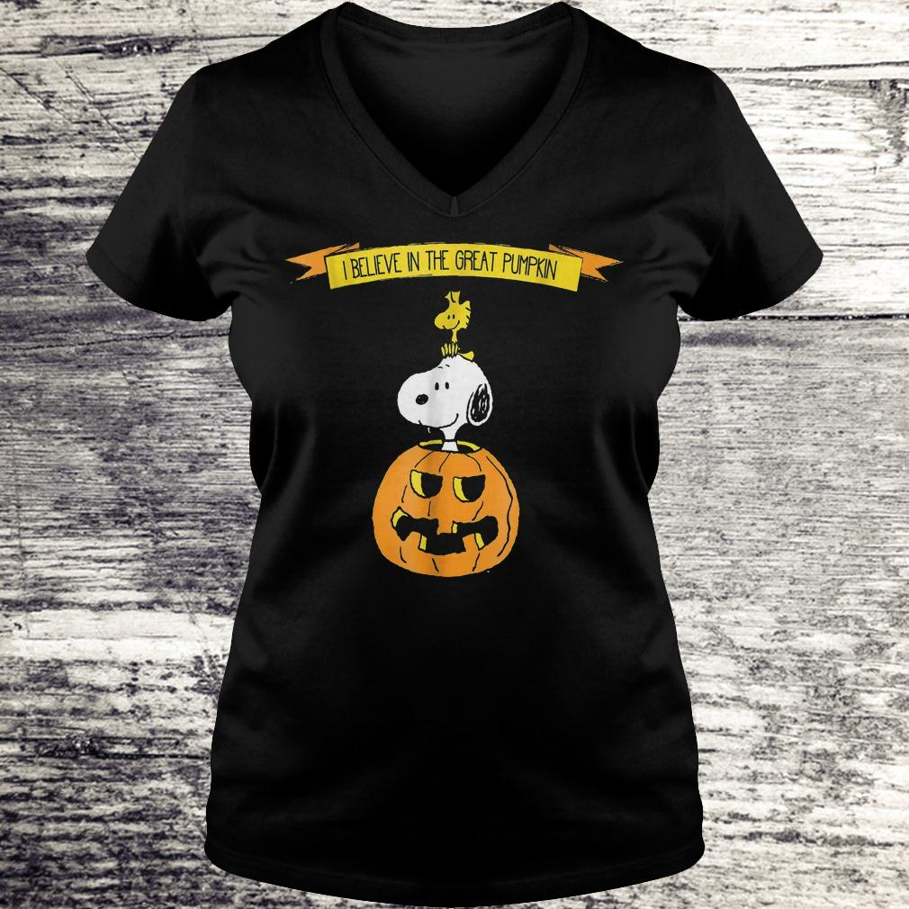 Original Halloween I believe in the great pumpkin Snoopy Peanuts Shirt Ladies V-Neck