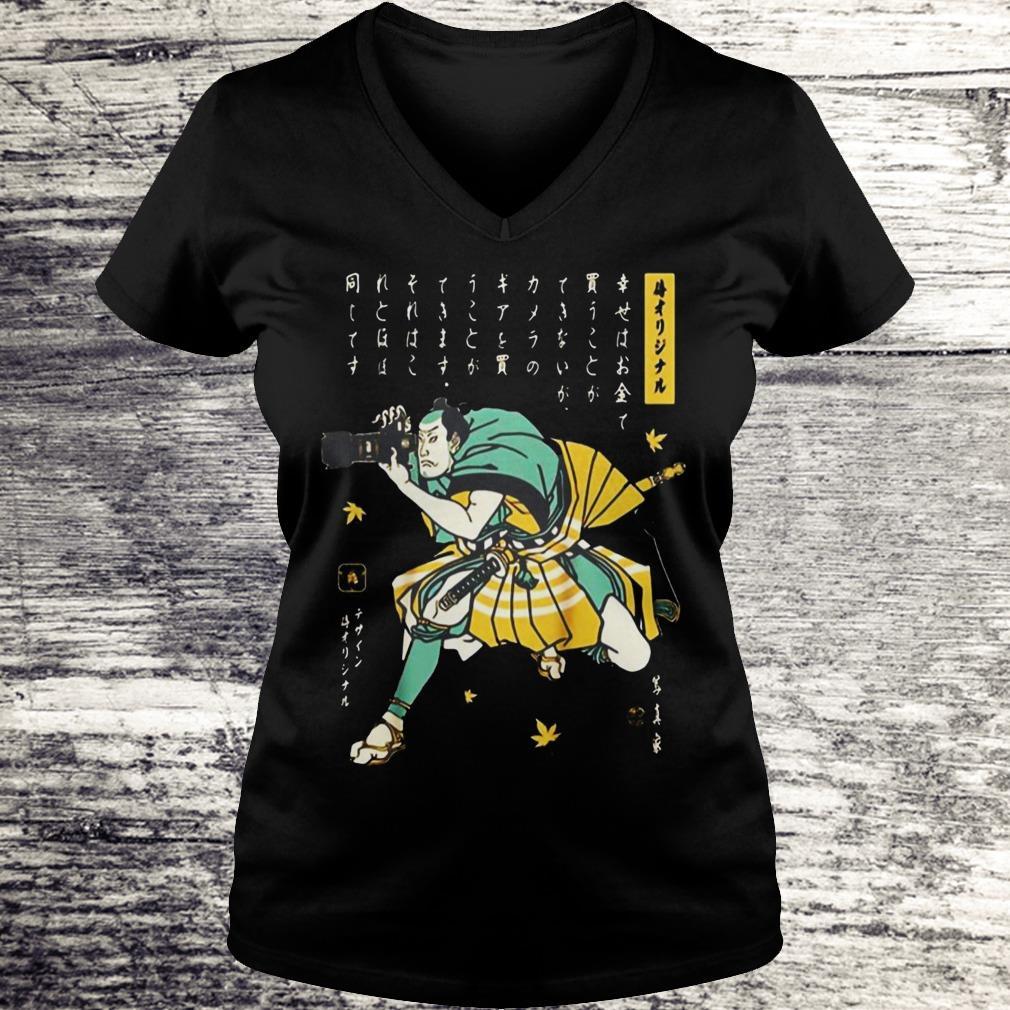 Photographer Samurai Cool Shirt Ladies V-Neck