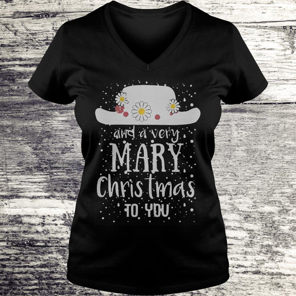 Poppins Hat And A Very Mary Christmas To You Sweatshirt Ladies V-Neck