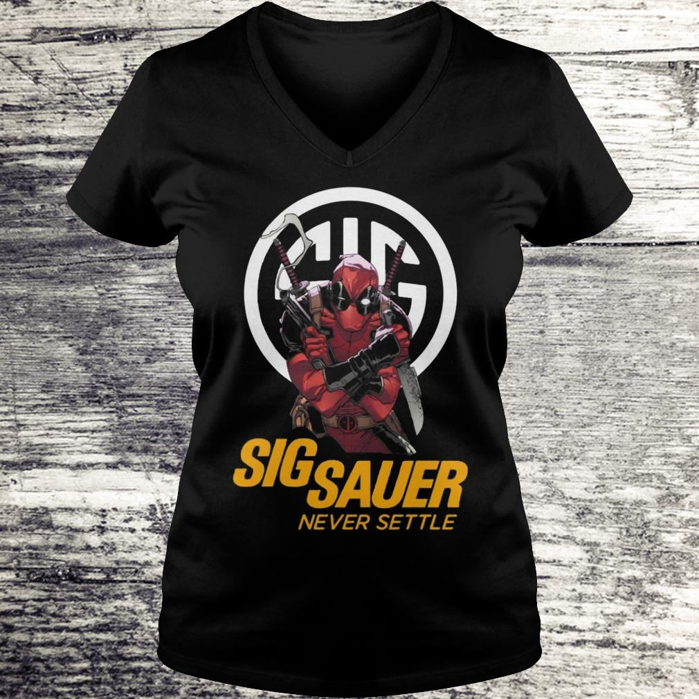 Sig Sauer Never Settle Deadpool With Firearms Shirt Ladies V-Neck