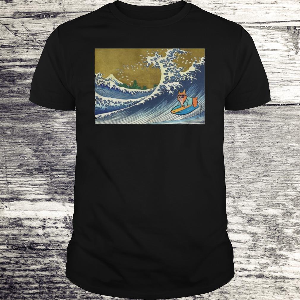 Surfing Corgi On A Wave Shirt Classic Guys Unisex Tee.jpg