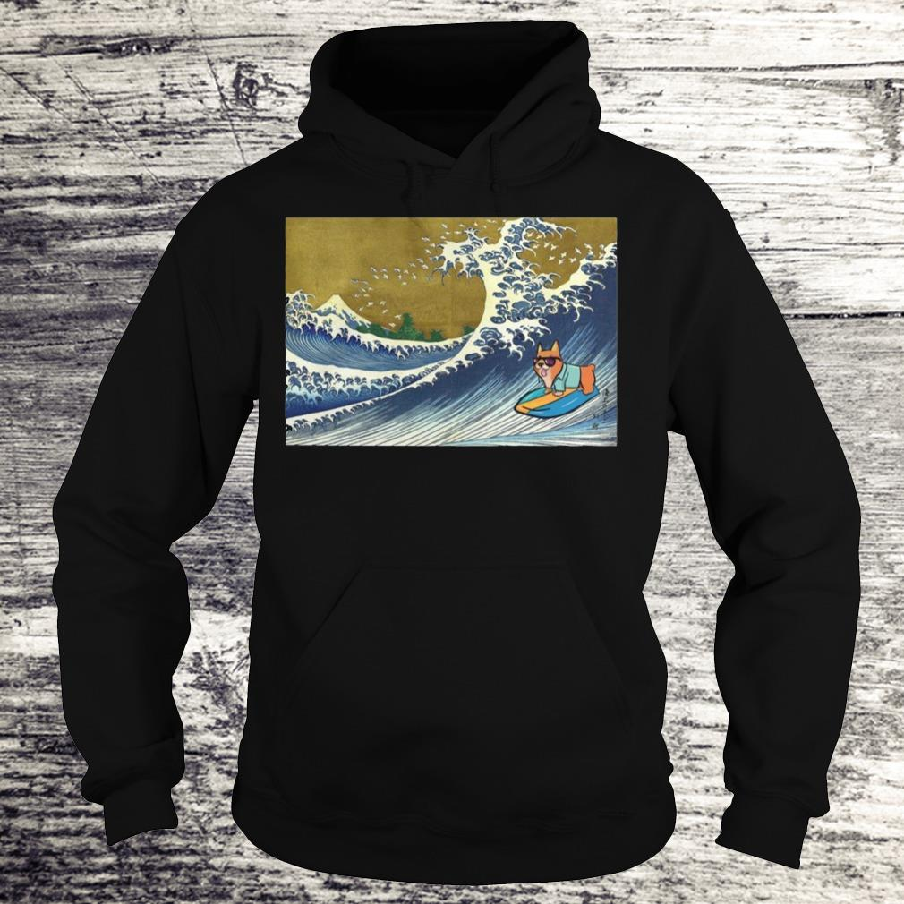 Surfing Corgi On A Wave Shirt Hoodie