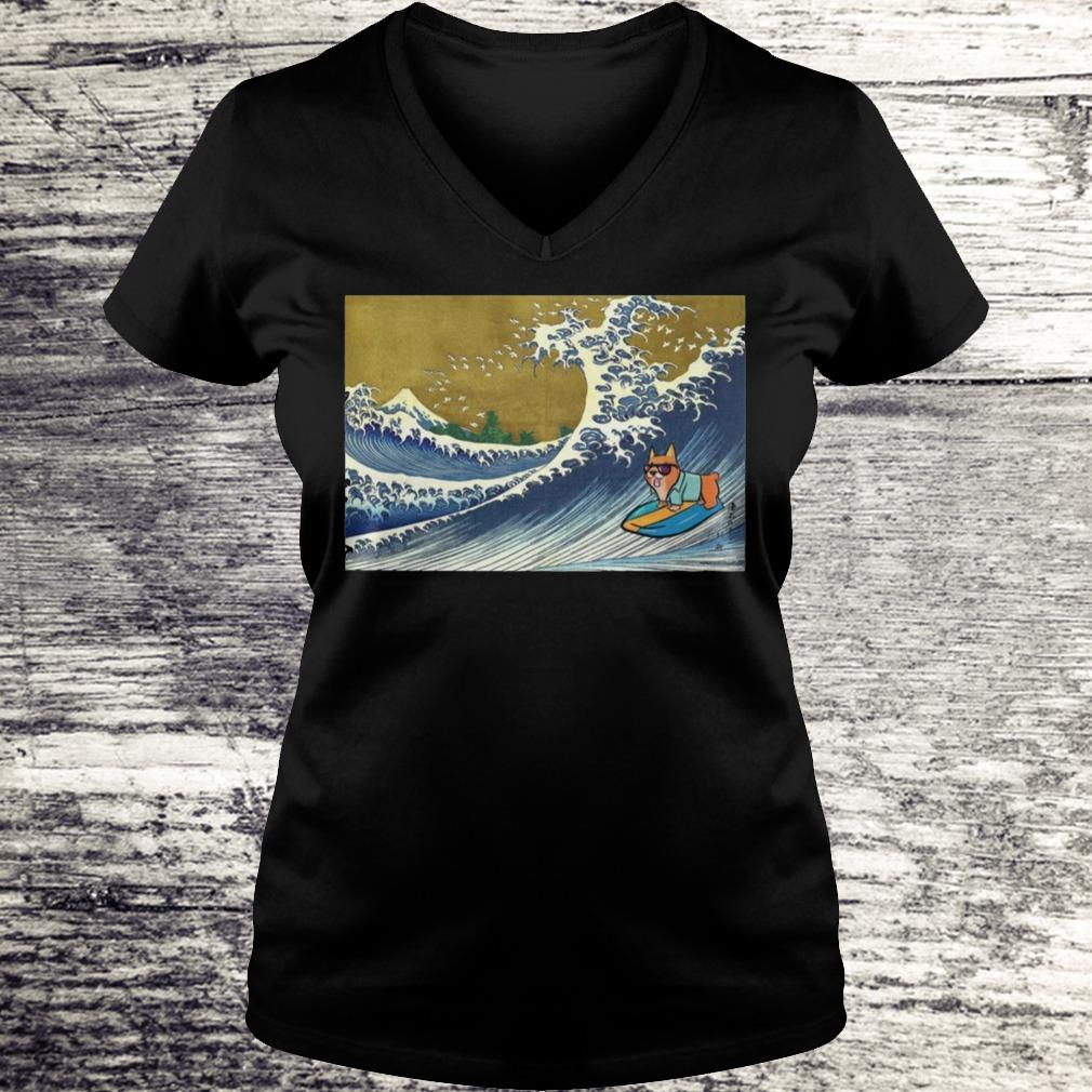 Surfing Corgi On A Wave Shirt Ladies V-Neck