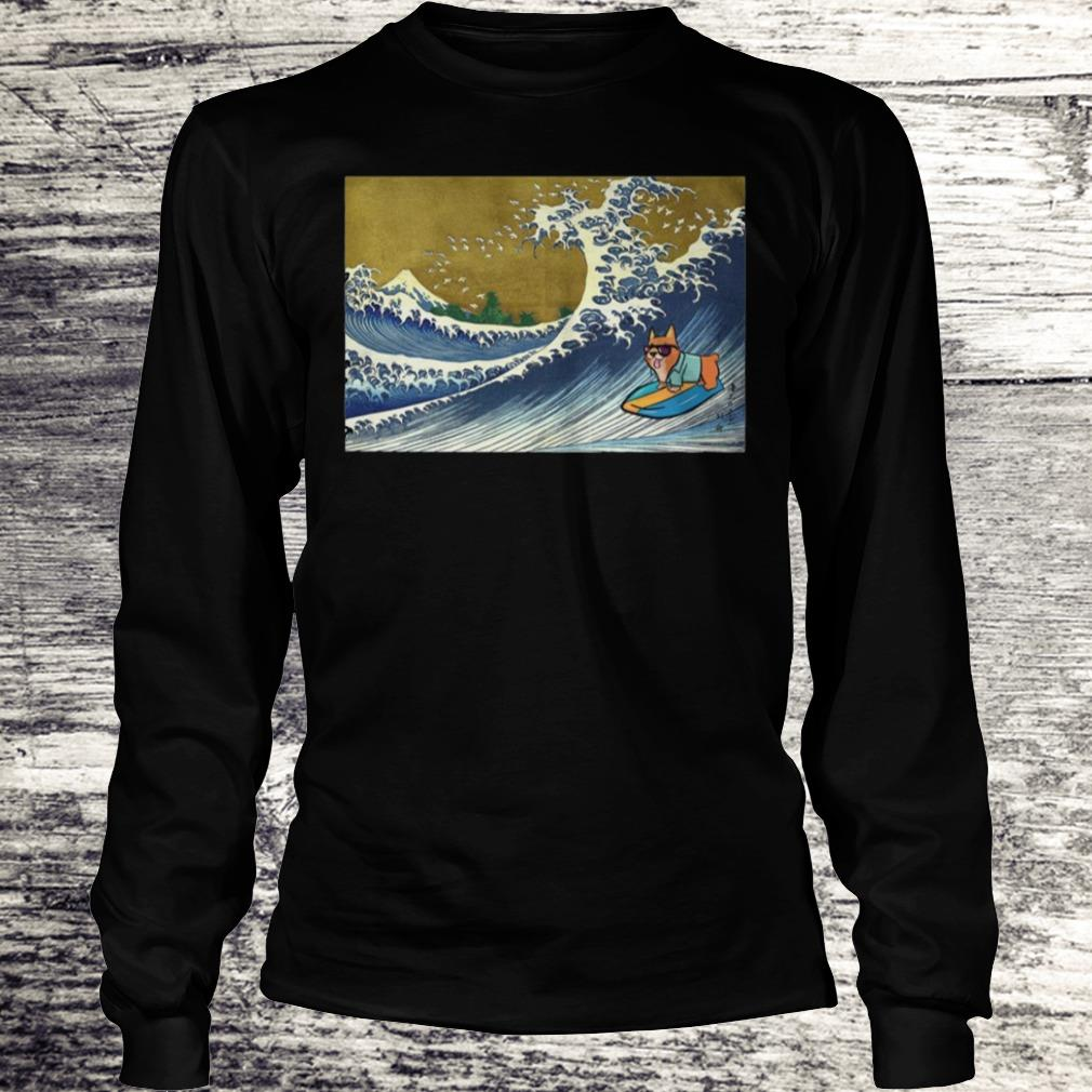Surfing Corgi On A Wave Shirt Longsleeve Tee Unisex