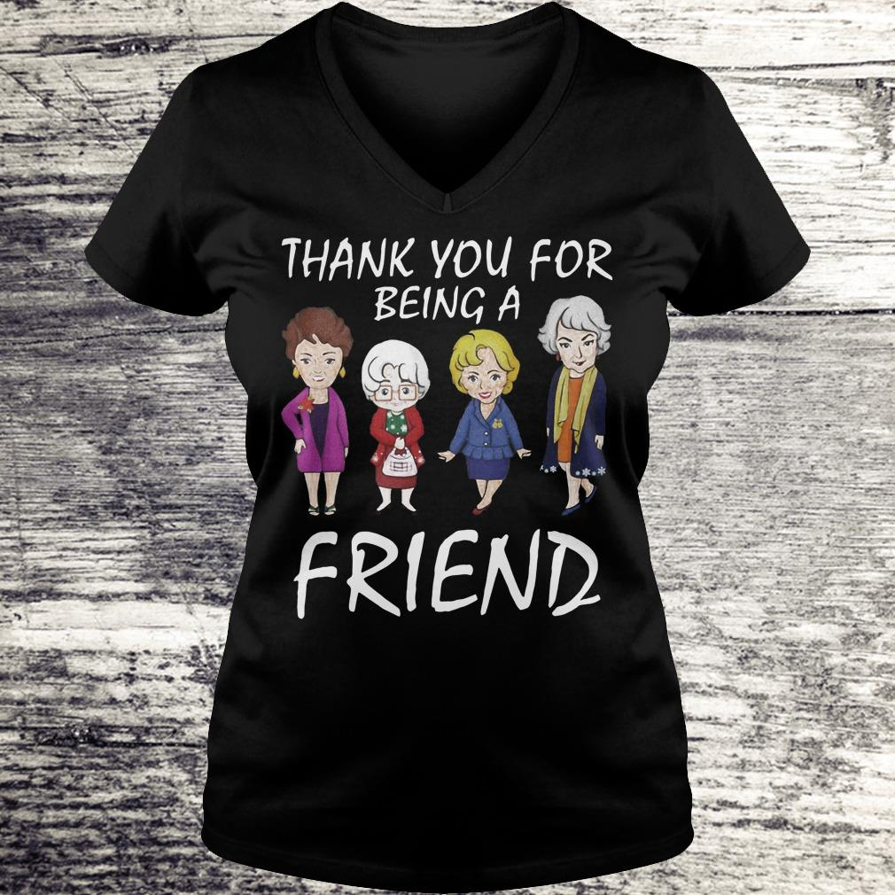 Thank You For Being A Golden Friend Girl Christmas Shirt Ladies V-Neck